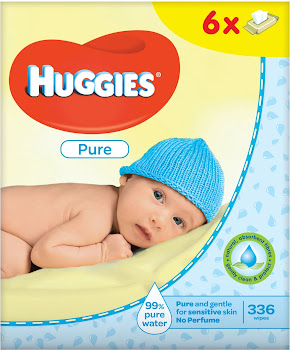 Huggies Pure Baby Wipes - 6 x 56 Wipes Pack