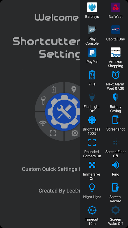 Shortcutter Quick Settings​- screenshot