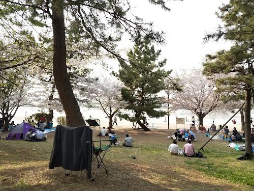 公園+チェア+タブレットアーム+キーボード=神!