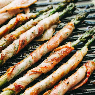 Bacon Wrapped Asparagus with Balsamic Glaze.