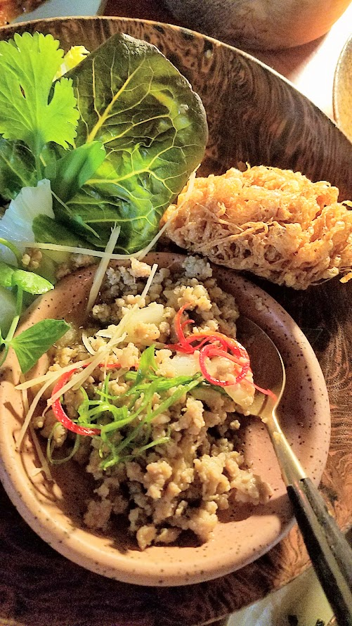 Journey of a Dinner at LangBaan with their May 2017 Tour of Thailand menu: Moo pad plaa kem, a main dish of Lower Southern Thai style relish of ground pork with salted threadfin, lime leaf, crispy omelette, greens