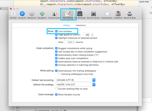 Xcode editor line number
