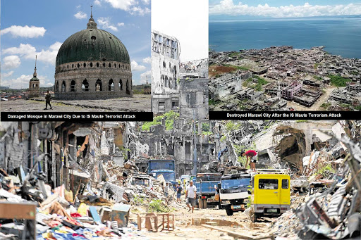 Destroyed Marawi City after ISIS Terrorism Attack