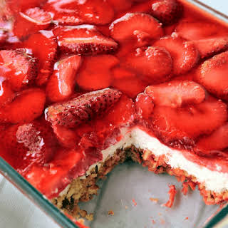 Layered Strawberry Pretzel Salad Dessert.