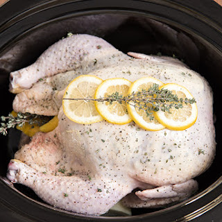 Slow Cooker Lemon Thyme Whole Chicken.