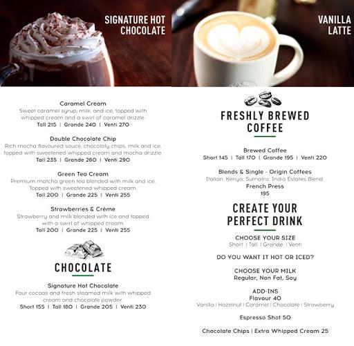 Starbucks menu 1