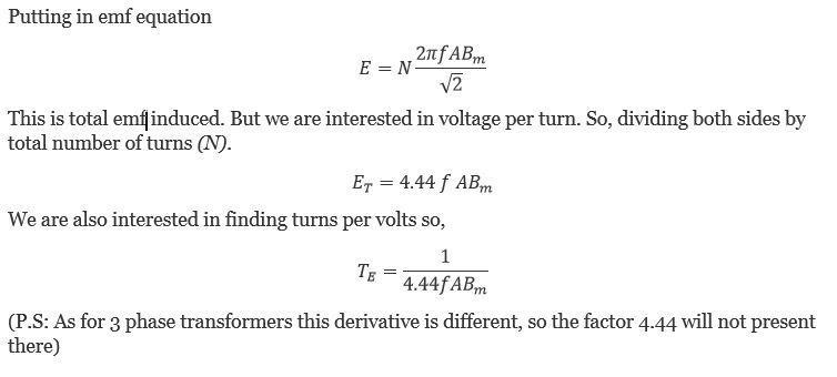 Derivation of Formula for Calculation of Turns per Volts of Transformer Design