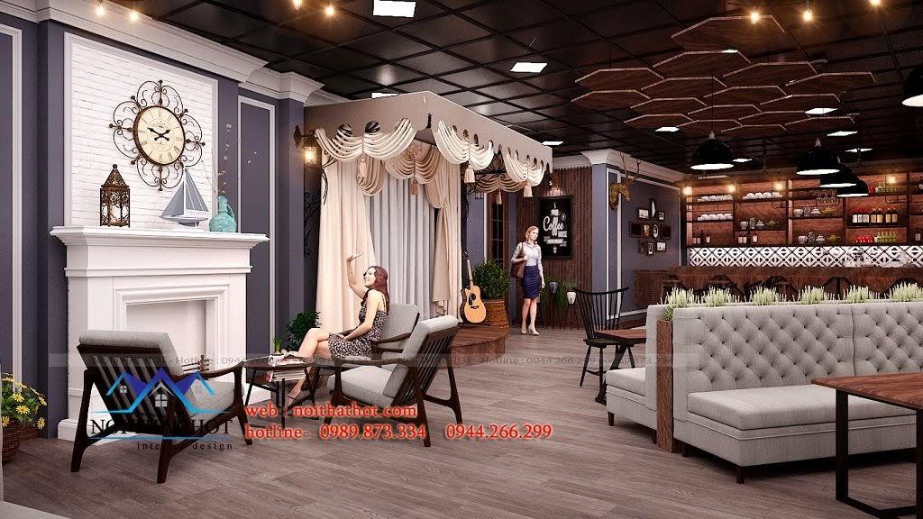 thiết kế quán cafe phong cách pháp