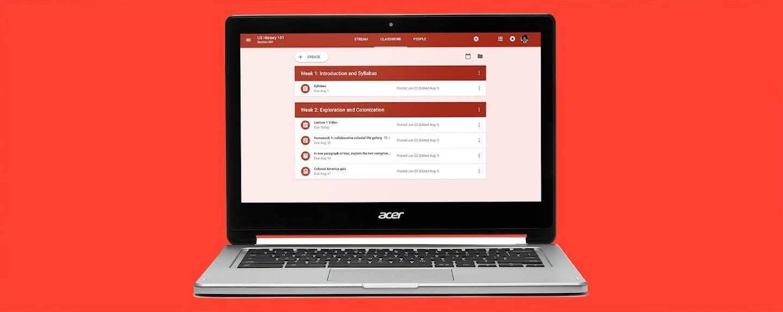 Classroom interface on a Chromebook.