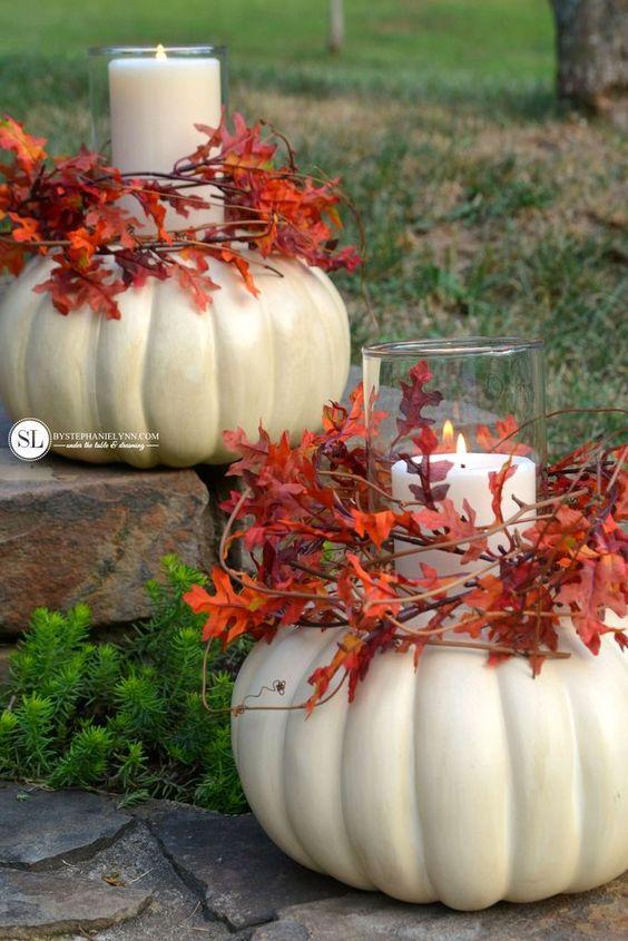 Pumpkin and dripless pillar candles for fall décor