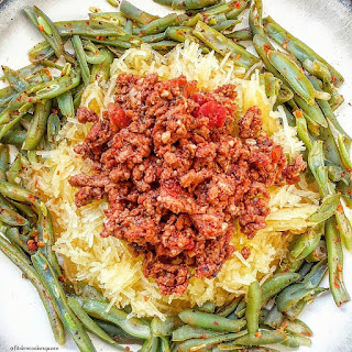 Slow Cooker Spaghetti Squash & Meat Sauce.