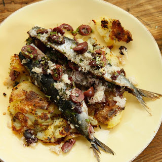 Roasted Sardines with Smashed Potatoes