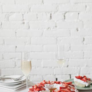 Limoncello Ricotta Cake with Strawberry Cream.