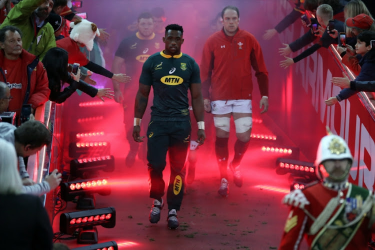 Siya Kolisi (captain) of South Africa during the Castle Lager Outgoing Tour match between Wales and South Africa at Principality Stadium on November 24, 2018 in Cardiff, Wales.