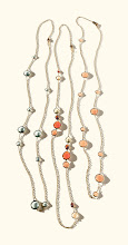 """Photo: IPPOLITA Exclusively ours. 18k gold Rock Candy® necklaces. 37″ with green amethyst. $3,595. 36″ with """"Citron Multi"""" stone mix. $3,395. 37″ with peach moon- stone. $3,595. Main Floor. 212 872 8775"""
