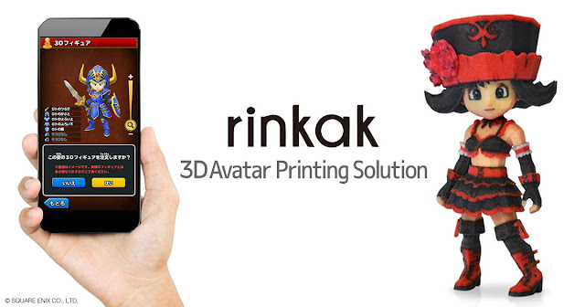 Rinkak 3d avatar printing solution in game customized 3d figurine printing service expands to dragon quest