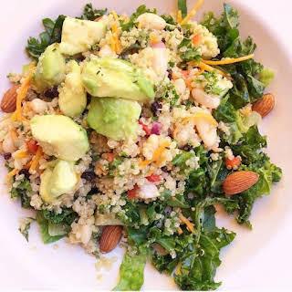 Kale, White Bean, Avocado Quinoa Salad.