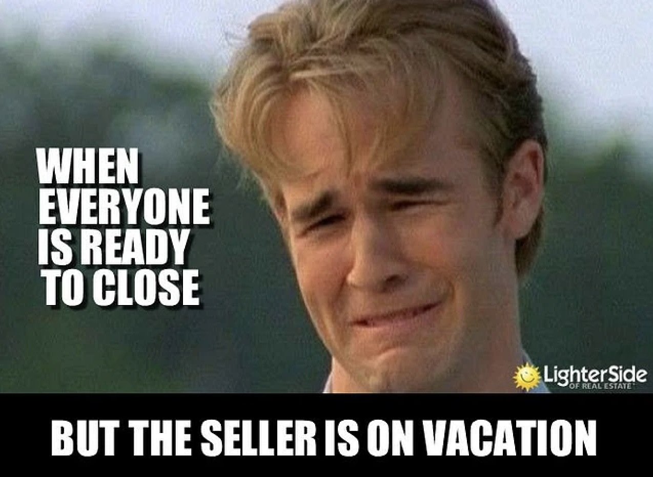 Seller is on vacation