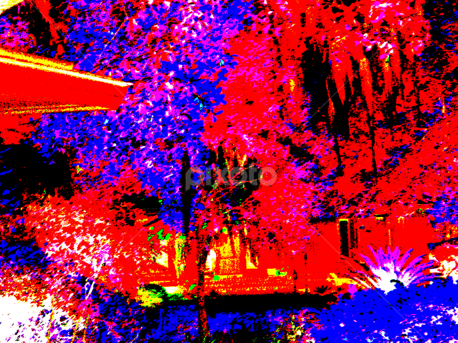 by Edward Gold - Abstract Patterns ( red, white, plants, shapes, yellow, bright, house, trees, blues,  )