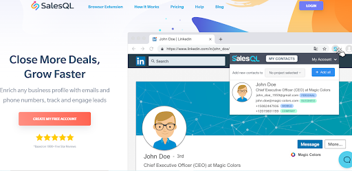 SalesQL help you avoid spending on Inmails.