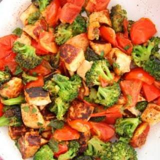 Warm Broccoli, Halloumi and Tomato Salad