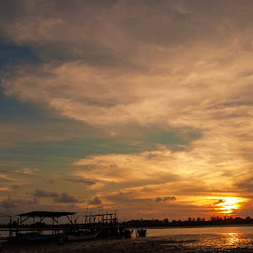 Jetty to the Sunset by Hakim Caine - Landscapes Waterscapes