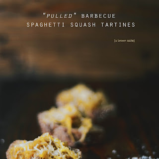 """pulled"" Barbecue Spaghetti Squash Tartines"