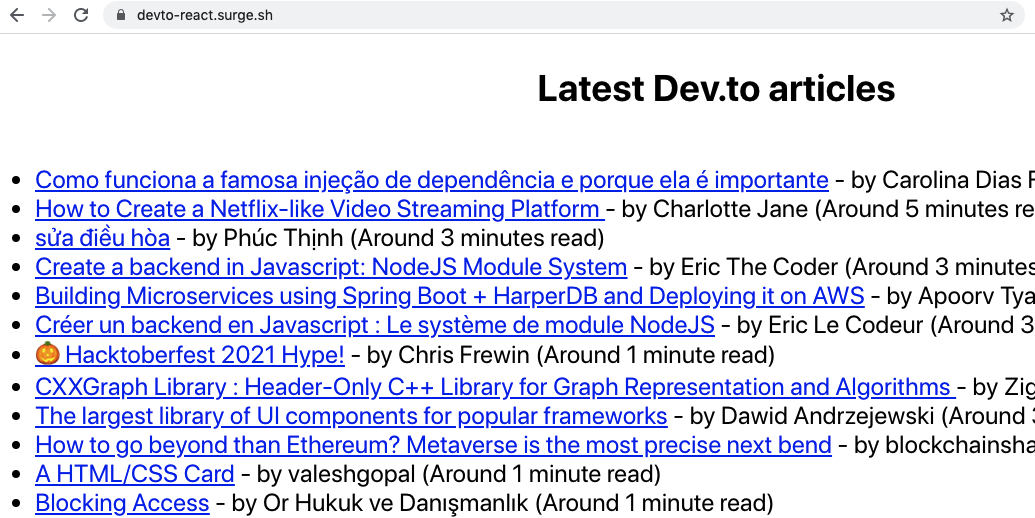 Screenshot of latest Dev.to articles running on surge.sh