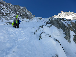 Photo: Looking up our route on skiers right