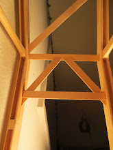 """Photo: Detail of the """"K"""" bracing. The connection in the middle could be stronger."""