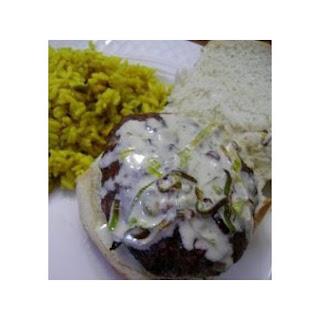 Jalapeno Burgers With Bleu Cheese Sauce.