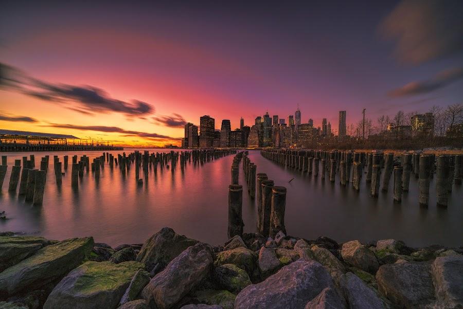 by Gordon Koh - City,  Street & Park  Vistas ( brooklyn, night, nightscape, manhattan, cityscape, manhattan skyline, bridge, long exposure, brooklyn bridge, new york, blue hour, architecture )