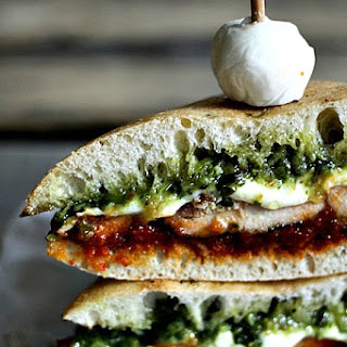 Grilled Chicken Melt with Sun-Dried Tomato Spread and Pesto