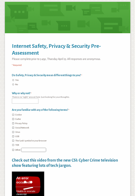 Internet Safety, Privacy & Security Pre-Assessment