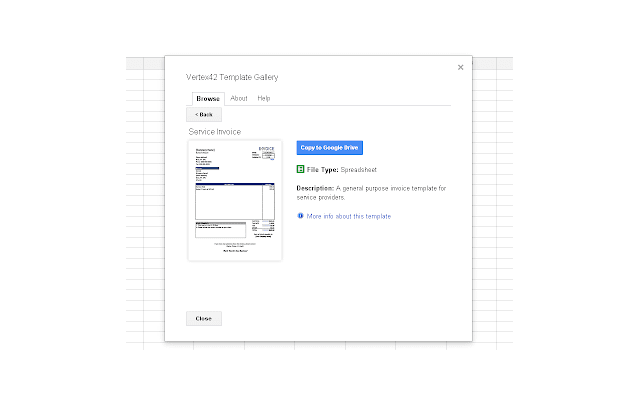 Template Gallery - Google Sheets add-on