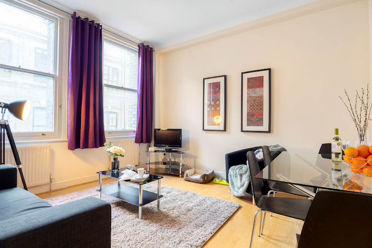 Living room at Creechurch Lane Apartments, Aldgate