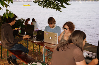Photo: The first Summer Game Jam in Zürich, a weekend coding at the lake.