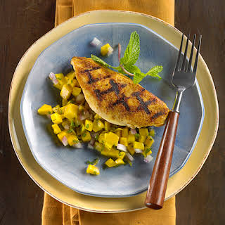Grill Pan Chicken with Fiery Mango-Ginger Salsa.