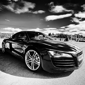 Audi R8 by Adrian Wilson - Transportation Automobiles ( audi, black and white, suerpcar )