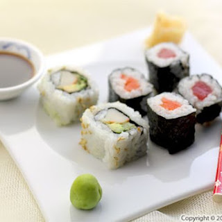 California Sushi Rolls and Tuna and Salmon Sushi.
