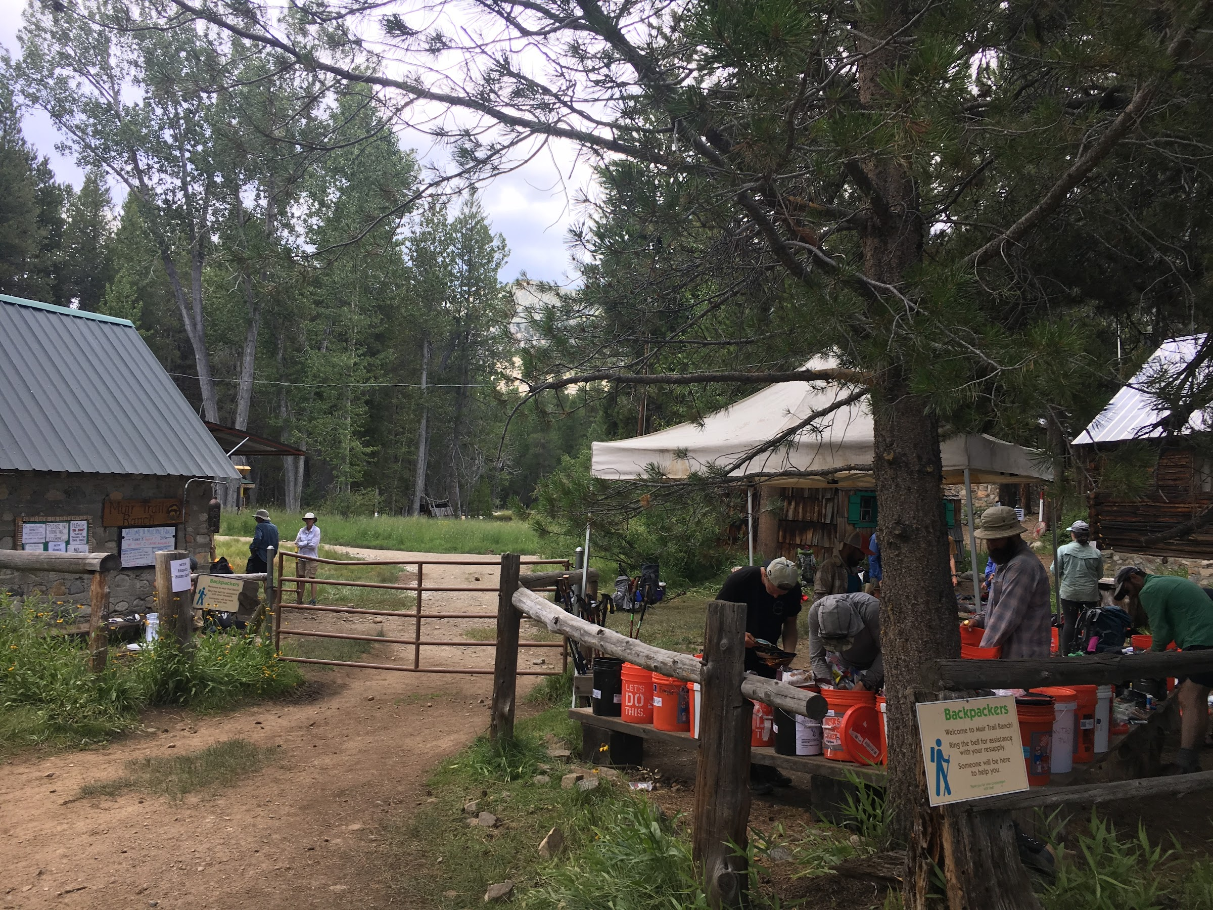Hunger hikers scavenging from the public buckets at Muir Trail Ranch