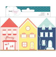 Dear Lizzy Wooden House Shaped Stamps 3/Pkg - Lovely Day UTGÅENDE