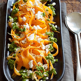 Carrot Ribbons with Sorrel Pesto and Crumbled Goat Cheese