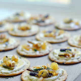 Ramps, Whipped Goat Cheese, and Crackers = easy appetizer!.