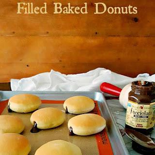 Hazelnut Chocolate Filled Baked Donuts #Choctoberfest #ad.