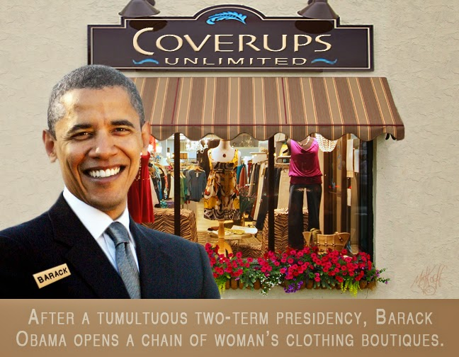 Photo: After a tumultuous two-term presidency, Barack Obama opens a chain of woman's clothing boutiques.