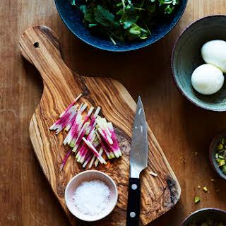 Arugula Breakfast Salad with Toasted Pistachio, Radish & Soft Eggs (serves 2) Gluten-free, DAIRY-FREE.