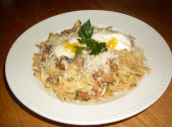Spam-bacon Carbonara With Mushrooms Recipe