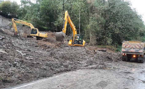 Landslide road partially opened