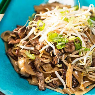 Beef And Flat Noodle Stir Fry.